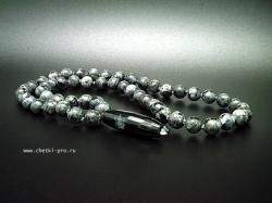 браслет четки из ларвикита красота черно-белого